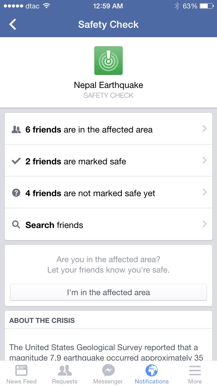 Facebook 'Safety Check' - Surya  and Urmo marked safe :)
