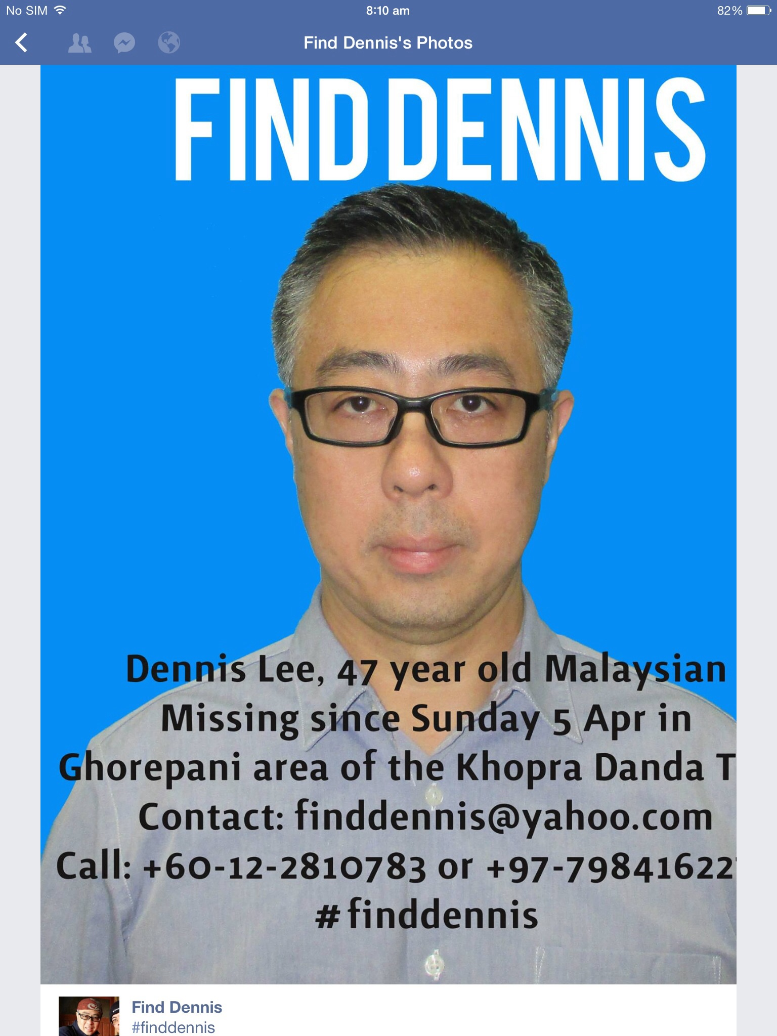 #finddennis poster in English