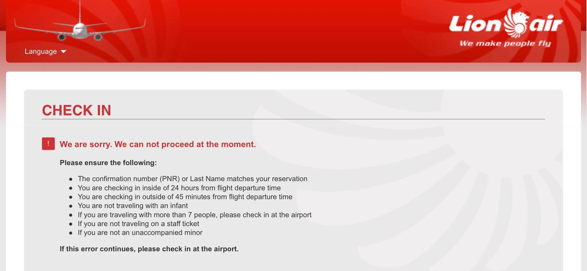 Image Gallery: Lion air web check in