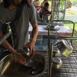 Step 4 - Wash after you are done, and place the bowl on drying rack to dry. Spoon to go back inside the plate at cendol counter