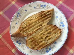 Toasted baguette with butter
