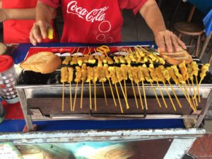 Satay and toast bread stall