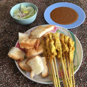 Pork satay and toast bread