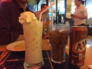 Horchata for him, and A&W for me