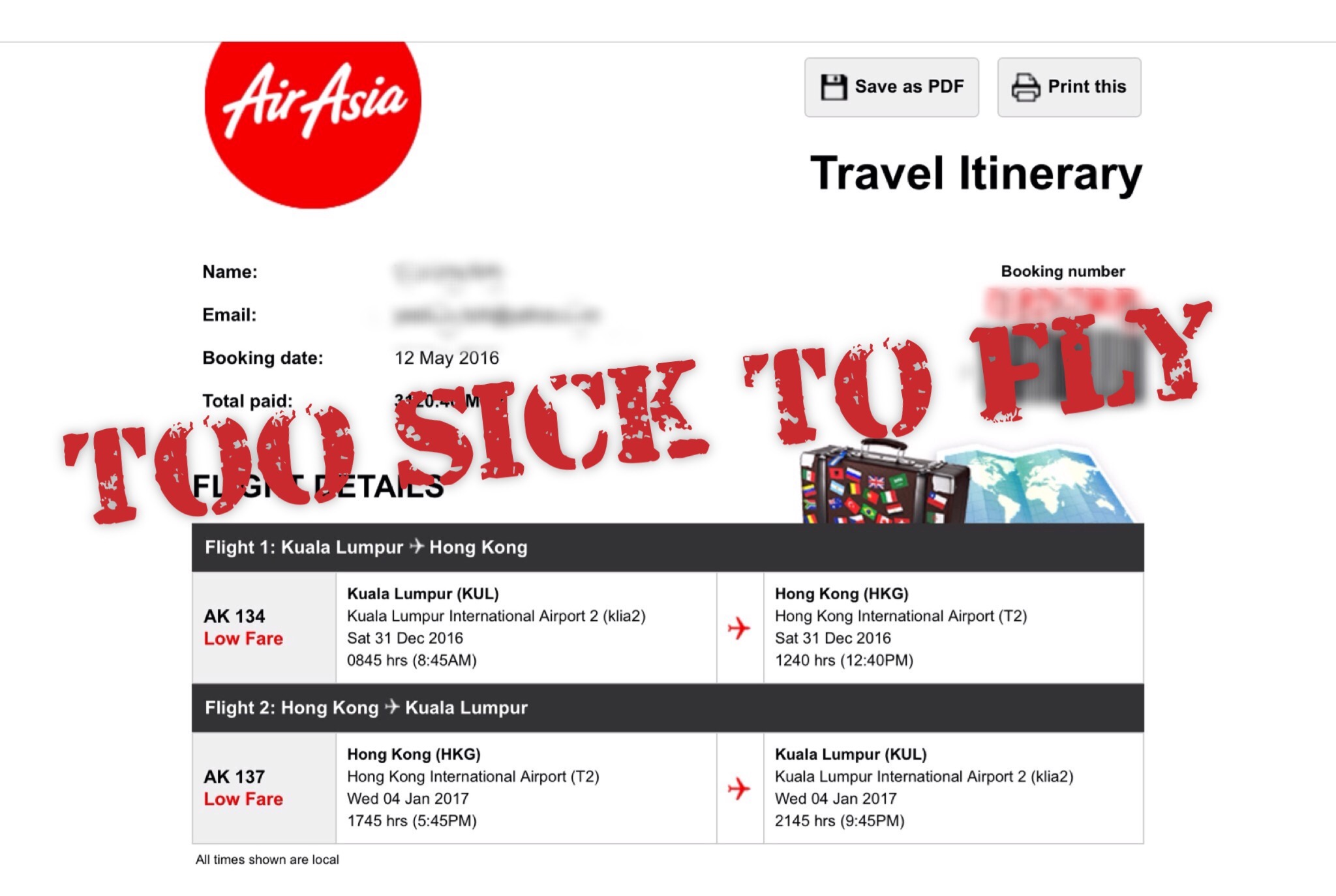 Too sick to travel can i cancel my airasia flight not your not your typical tourist spiritdancerdesigns Choice Image